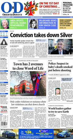 The front page for Tuesday, Dec. 1, 2015: Conviction takes down Silver