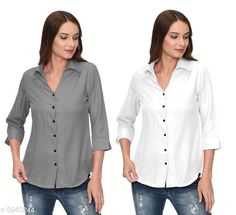 Shirts Glamorous Contemporary Women's Polyester Solid Women's Shirts(Pack Of 2) Fabric: Polyester   Sleeves: 3/4 Sleeves Are Included Size: S - 36 in M - 38 in L - 40 in XL - 42 in Length: Up To 28 in Type: Stitched Description: It Has 2 Pieces Of Women's Shirts Pattern: Solid Country of Origin: India Sizes Available: S, M, L, XL   Catalog Rating: ★4 (287)  Catalog Name: Glamorous Contemporary Women's Polyester Solid Women's Shirts Combo CatalogID_446772 C79-SC1022 Code: 405-3240244-1131
