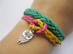 Bracelet-antique silver owl bracelet,owl braid bracelet,velour leather bracelet. $6.99, via Etsy.
