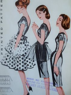 Vintage Butterick 9168 Sewing Pattern, 1950s Dress Pattern, Sheath Dress, Overskirts, Bust 30.5, 1950s Sewing Pattern, Vintage Sewing Supply