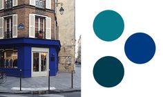A Klein blue shop exterior i Paris, to be matched with the Alcro paints Alco Paris, Alcro Stormnatt and Alcro Oktan.