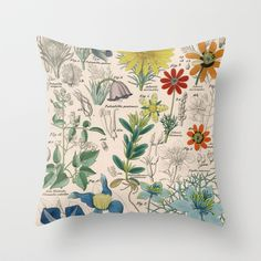 Vintage Floral Display on Throw Pillow