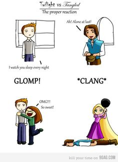 The proper reaction to a man coming through your window...CLANG!