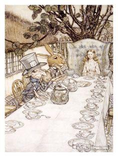 illustraties alice in wonderland | Alice in Wonderland, Madhatter Tea Party Gicléedruk bij AllPosters.nl