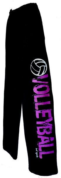Volleyball Sweatpants Neon Purple Green or Pink by BADSportz1, $30.00