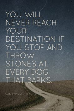 You will never reach your destination if you stop and throw stones at every dog that barks. (Winston Churchill has your back today!)