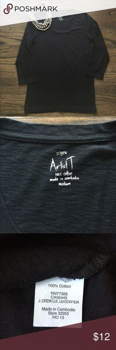"""J. Crew Factory Artist T, Size Medium J. Crew Factory Artist T, 3/4 Sleeves, Black, Size Medium. Only worn and washed once! Pit to pit measures approximately 17"""" and shoulder to hem is 25.5"""". J. Crew Tops"""