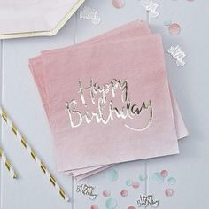These Ginger Ray Pink Ombre Birthday Lunch Napkins feature a pink ombre tone with a metallic rose gold 'Happy Birthday' headline printed on them. You can pair these napkins with other pink and rose gold tableware for your birthday party! Happy Birthday Rose, Birthday Roses, Happy Birthday Parties, Birthday Cards, Pink Birthday, Birthday Celebration, Birthday Lunch, Birthday Ideas, Unicorn Party Supplies