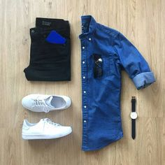 Men Casual Shirt Outfit 🖤 Very Attractive Casual Outfit Grid, Komplette Outfits, Casual Outfits, Fashion Outfits, Teen Boy Fashion, Mens Fashion, Casual Wear, Men Casual, Casual Shirt, Mode Man