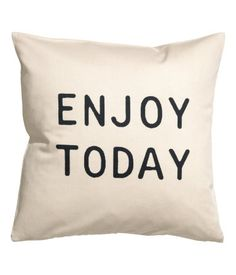 Charcoal gray. Cushion cover in cotton twill with a printed text design at front. Concealed zip.