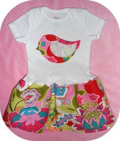 Bird Blossoms Baby Onesie Dress in by BeachBabesTrendyTots on Etsy, $21.00