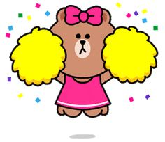 Brown's cute little sister CHOCO and her friends are ready to show off some moves in their new animated sticker set! Grab these special free stickers for plenty of fun times in your chats. Friends Gif, Line Friends, Line Sticker, Sticker Shop, Gif Bonito, Line Game, Cute Cartoon Characters, Free Stickers, Cute Gif