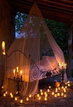 Canopy and candles So romantic Halloween Bedroom, Romantic Bedroom Decor, Magical Bedroom, Aesthetic Bedroom, My New Room, My Dream Home, Canopy, Halloween Decorations, Spooky Halloween