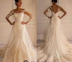 Wedding Dress, Lace Wedding Dress, Long Sleeve Wedding Dress, Mermaid Wedding Dress, Plus Size Wedding Dresses with Ruched, Court Train Wedding Dress, Elegant Wedding Dress, Ivory Bridal Gowns