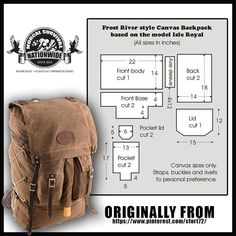 Excellent bushcraft know-hows that all survival lovers will want to learn now. This is most important for preppers survival and will save your life. Bushcraft Backpack, Bushcraft Gear, Diy Backpack, Backpack Tutorial, Leather Pattern, Leather Backpack Pattern, Leather Projects, Diy Canvas, Leather Tooling