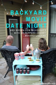 The perfect inexpensive, easy date night idea - Backyard Movie Date Night with Brown Cow Milkshakes #ShareFunshine (ad)