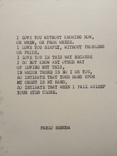 THE PABLO NERUDA Typewriter quote on 5x7 cardstock by WritersWire, $5.00