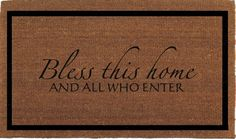 """Bless This Home And All Who Enter Door Mat - Coir Doormat Rug, 24"""" x 35"""", 2' x 2' 11"""" Welcome Outdoor Mat, Housewarming Gift, Hand Painted"""