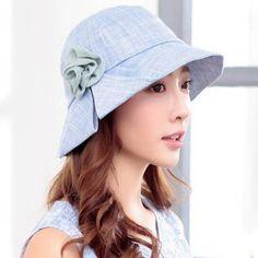 Fashion flower bucket hat for women summer beach sun hats with slit