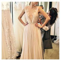 #nybfw2016 fittings of the delicate Anastasia gown @lihizwillinger #mirazwillinger