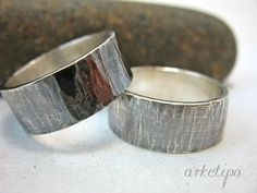 MORE DESIGNS from ARKETIPO handmade jewelry can be found here: http://www.etsy.com/shop/ARKETIPO ……………… These rings are HANDMADE entirely by myself in my workshop. Made from sterling silver, designed, hammered and crafted by hand. First ring is approximately 10mm wide and 1mm thick and