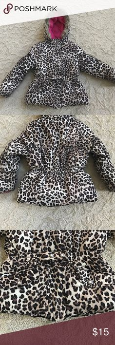 Winter Coat Girls winter coat. Leopard print outside and hot pink on the inside with faux fur trim around the hood. In good used condition. Smoke free pet free home Jackets & Coats Puffers