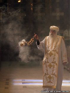Bishop Pachomius, acting head of the Coptic Orthodox Church during Mass at Abassaiya Cathedral in Cairo