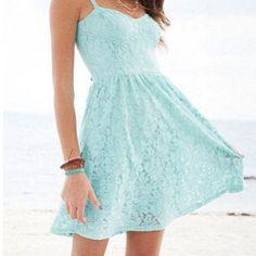 light blue short lace dress