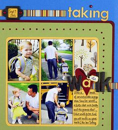 Design by Kelly Goree  Kelly created a simple collage of school photos, rounding the edges for a softer look. She left one block open for journaling and layered her title over the collage to give it presence.