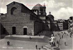 Piazza San Lorenzo e la Chiesa. dopo il 1936, anno della demolizione delle case addossate alla chiesa.#Firenze.