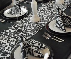 Wedding Black and White Damask Napkins Table by exclusiveelements, $10.00