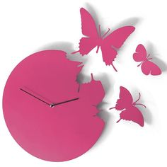 Butterfly Clock in Violet - purple wall clock - from Red Candy Purple Wall Clocks, Red Wall Clock, Wall Clock Design, Upcycled Crafts, Wall Stickers Birds, Pink Home Accessories, Interior Accessories, Kitchen Accessories, Funky Living Rooms