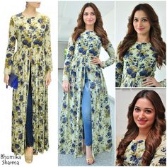 Pair skinny jeans with this printed open long kurti.....  Tamannaah in Bhumika Sharma paired with gold ankle straps from Steve Madden.