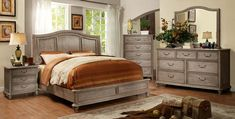 Furniture of America Belgrade I 4 Pieces Transitional Rustic Natural Tone Eastern King Storage Platform Bedroom Set Rustic Bedroom Furniture Sets, Rustic Bedding, Bench Furniture, Bedroom Ideas, Furniture Ideas, Bedroom Makeovers, Steel Furniture, Design Bedroom, Bedroom Decor