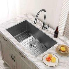 MENSARJOR 32 Inch Undermount Sink Prep Kitchen, Kitchen Appliances, Kitchen Ideas, Kitchen Designs, Kitchen Cabinets, Minimalist Kitchen Sinks, Steel Kitchen Sink, Single Bowl Kitchen Sink, Washing Dishes