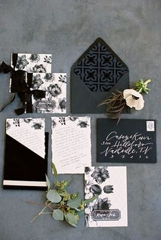 black and white wedding invitations