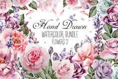 HandDrawn Watercolor Bundle FLOWERS2 @creativework247