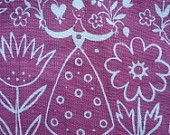 Vintage Finland / Finnish Midcentury Pink and White Folksy Fabric / Sewing Crafts Mixed Media Projects