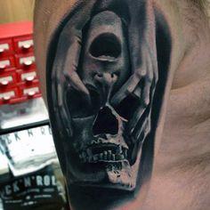 Mens Skull Quarter Sleeve Tattoo