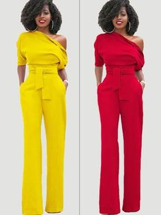 Be the perfect hostess in the Inclined Shoulder Plain High-Waist Lace-Up Slim Jumpsuit!