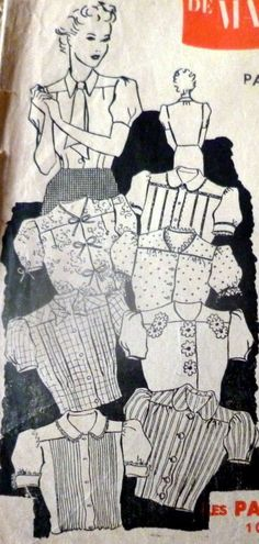 LOVELY VTG 1930s BLOUSE MARIE-CLAIRE FRENCH Sewing Pattern BUST 37 | eBay