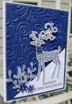 Handmade Christmas Decorations Stampin Up - RetroModa Die Cut Christmas Cards, Christmas Crafts To Make, Homemade Christmas Cards, Handmade Christmas Decorations, Christmas Deer, Christmas Greeting Cards, Homemade Cards, Holiday Cards, Christmas Wishes