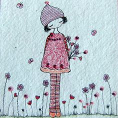 Lovely whimsical drawings, embroideries and embroidery by lilipopo at glass mountain on Folksy