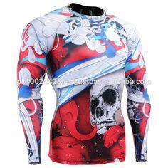 Man Long Sleeves Full Prints Compression Shirts Tight Skin Rash Guard MMA Gym Fitness Male Running Shape T-Shirt