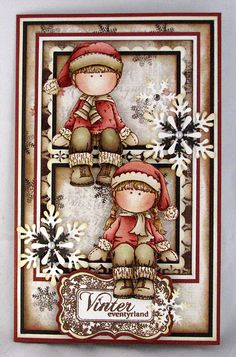 Christmas card - this gives me a good idea for some stamps I haven't used yet! A winter boy and girl....