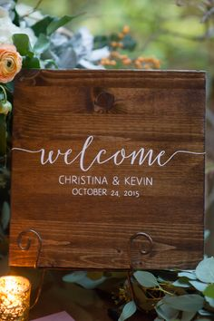 Simple wooden welcome sign, white calligraphy // Alisha Crossley Photography