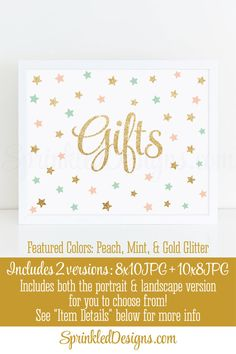 Gifts Signs Gift Table Signs Twinkle Little Star Baby Shower Girl Birthday Blush Pink Mint Gold Glitter Printable Party Signs 2 Variations by SprinkledDesigns.com