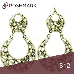 Filigree  Crescent  Earrings EARRING / FILIGREE / LAYERED METAL CRESCENT / AGED FINISH / CUTOUT / SPIRAL / FISH HOOK / 3 1/8 INCH DROP / NICKEL AND LEAD COMPLIANT Jewelry Earrings
