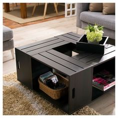 DIY Coffee Tables - Furniture Of America Zuko Multi Storage Crate Coffee Table Espresso Rustic Coffee Tables, Diy Coffee Table, Coffee Table With Storage, Coffee Table Design, Coffee Table On Wheels, Extra Large Coffee Table, Wooden Crate Coffee Table, Crate Side Table, Diy Home Decor On A Budget