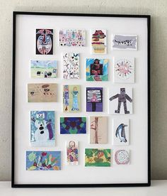 Reduce size of artwork and frame together. Displaying Kids Art and Storage Ideas